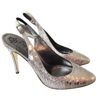 Gina silver court shoes