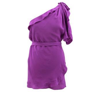 Sonia Rykiel Silk Purple One Sleeve Mini Dress