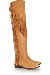 See by Chloe over the knee fringed tan boots