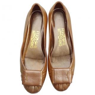 Salvatore Ferragamo Gold Leather Flat Shoes