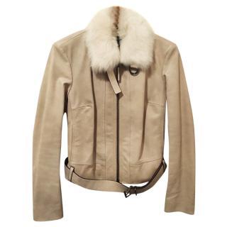 PRADA Leather Jacket with Detachable Sheepskin Collar - Never Worn