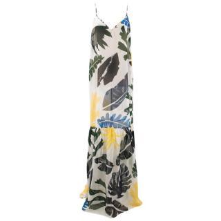 Kalmar Palm Leaf Print Maxi Slip Dress