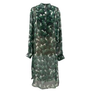 Adriana Degreas Leaf Silk Chiffon Dress
