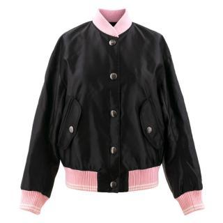 Miu Miu Appliqu�d Satin Bomber Jacket With Pink Collar And Cuffs