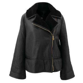 La Mania Maxi Black Leather Jacket