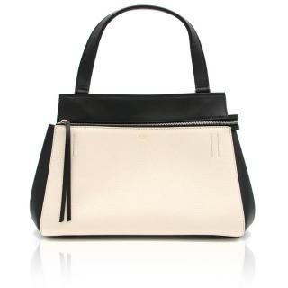 Celine white and black calfskin 'Edge' top handle bag