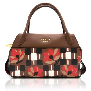 Prada Printed Floral Handbag With Tan Leather