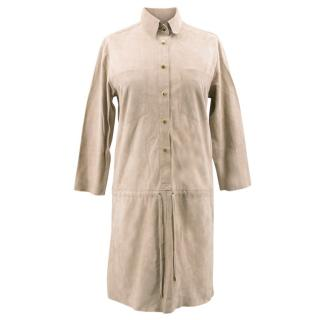La Mania Beige Perea Long Sleeved Suede Dress
