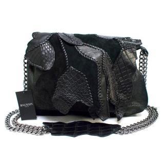 Balmain Crocodile Black Patchwork Bag