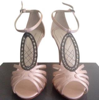 Alberta Ferretti pink silk sandals