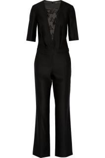 MAJE Black Kaaris Lace-paneled Twill Jumpsuit