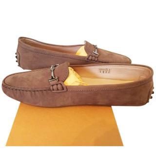 TOD's Brown Nubuck Gimono Driving Shoes