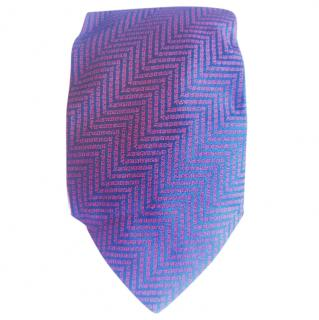 Burberry Blue Base With Burberry Red Chevron Stripes Silk Tie