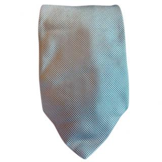 Mulberry Blue Base With White Micro Dots Silk Tie
