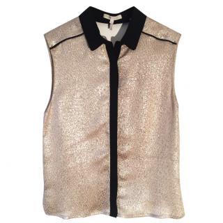 MAJE silk/ lurex gold sleeveless top