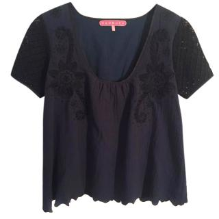 MANOUSH navy blue & black cotton embroidered top