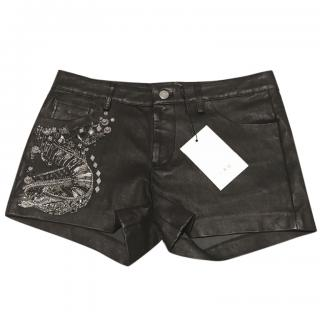 Iro lamb leather mini shorts