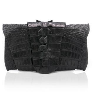 Balmain Black Crocodile Wrap Around Clutch