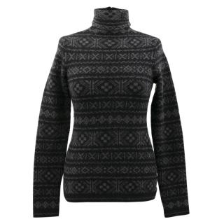 Ralph Lauren Grey Cashmere Pattern Polo Neck Jumper