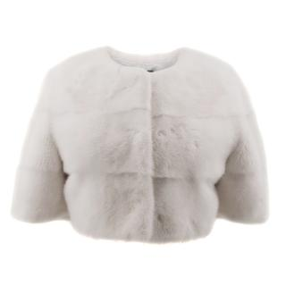 Lilly Violetta White Mink and Fox Fur Coat