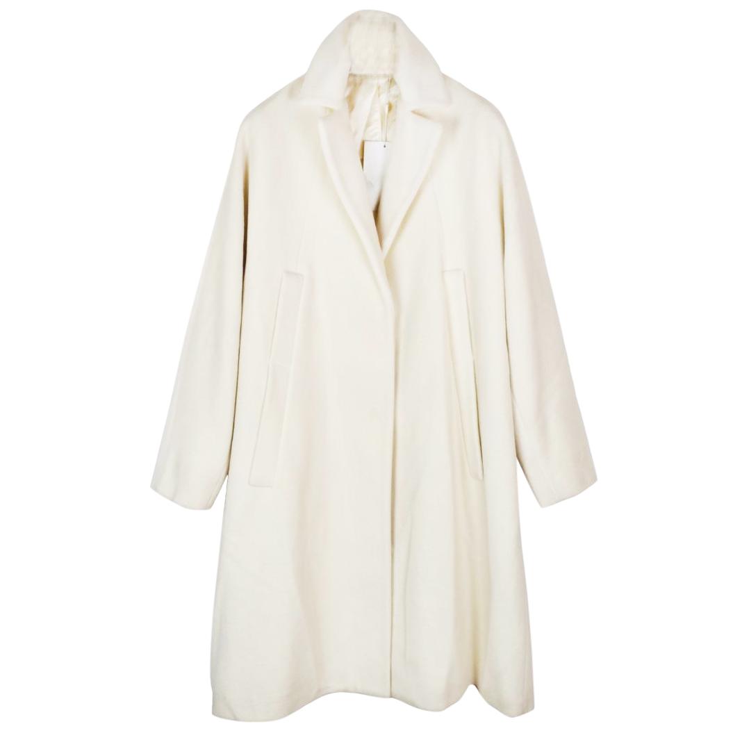 Maison Margiela brushed new wool and angora cream coat