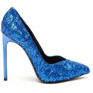 Saint Laurent Blue Sequin Pumps
