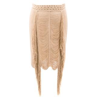 Magda Butrym Nude Fringe Skirt