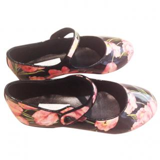 Dolce and Gabbana girl's patent floral mary janes