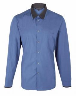 Jonathan Saunders Blue Patch Pocket Contrast Collar Cotton Shirt