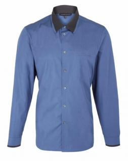 Jonathan Saunders Blue Patch Pocket Contrast Collar Cotton Shirt
