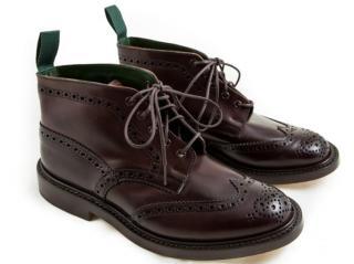 Tricker's Mens Brogue Boots in Mogano Cordovan, (9) BNWB