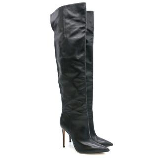 Gianvito Rossi Black Leather Thigh High Boots