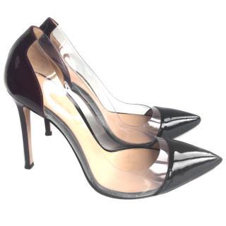 Gianvito Rossi Plexi black / burgundy patent leather pumps