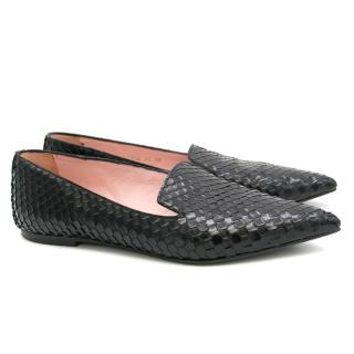 Pretty Loafers Black Leather Pointy Loafers
