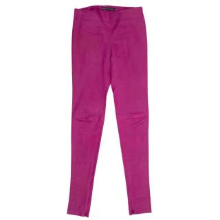 Balenciaga Purple Leather Trousers