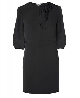 Tucker Side Ruffle  Black Dress