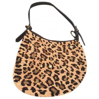 Fendi Leopard Print Sequinned Evening bag