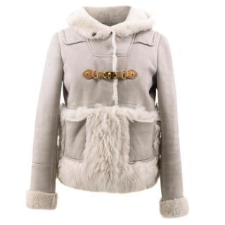 Miu Miu Grey Shearling Jacket