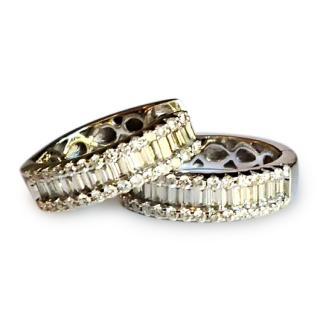 Diamond Heaven Baguette and round diamond hoop earrings 18ct gold