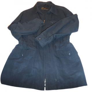 Lanvin Blue Gathered Waist Cotton/Linen Jacket