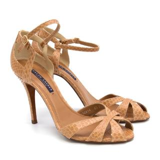 Ralph Lauren Tan Python Leather Heels