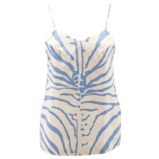 Carven Cream and Blue Zebra Pattern Camisole Top