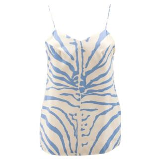 Carven Cream and Blue Zebra Pattern Camisole Top