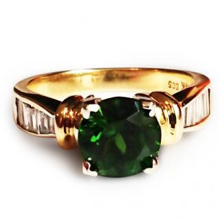 Tsavorite and diamond ring 14ct gold