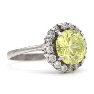 Monte Carlo Jeweller Silver  Faux Citrine and Faux Diamond Ring