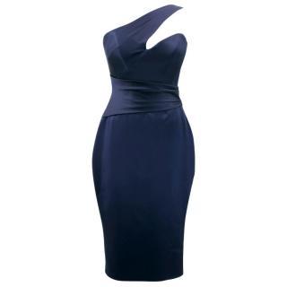 Suzanne Neville Navy Asymmetric Cocktail Dress