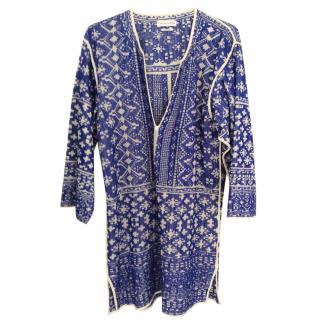 Isabel Marant Etoile bloom knit tunic dress in blue
