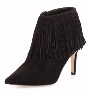 SAM EDELMAN black Kandice fringed ankle boots
