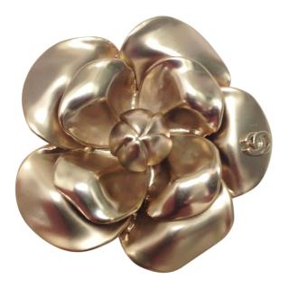 Chanel soft gold camellia brooch