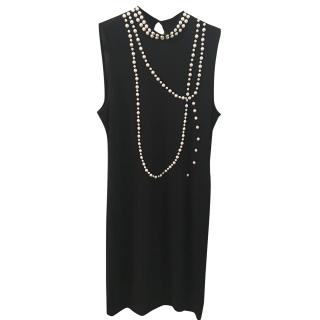 Moschino black dress with pearls